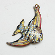 Angel Fish Enameled Pendant or Charm