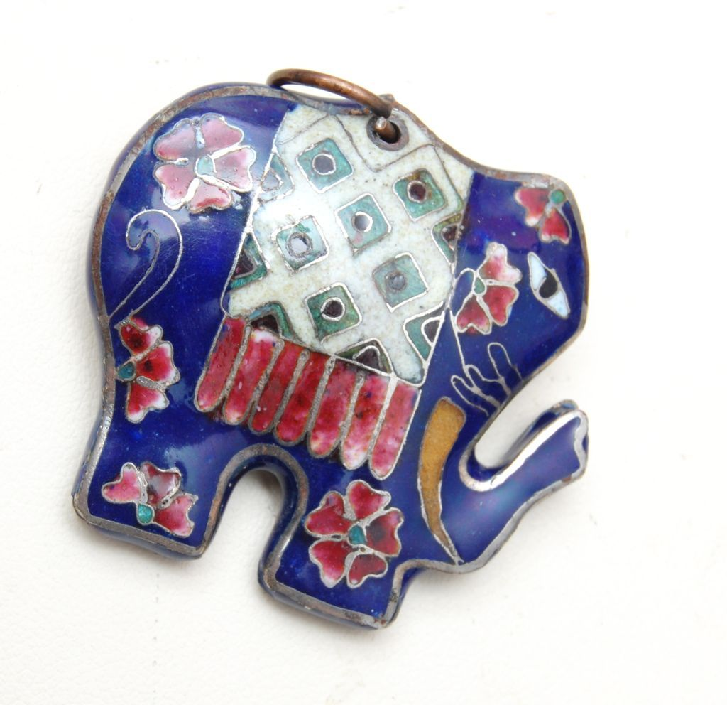 Cloisonne' Elephant Charm or Pendant - Excellent Condition