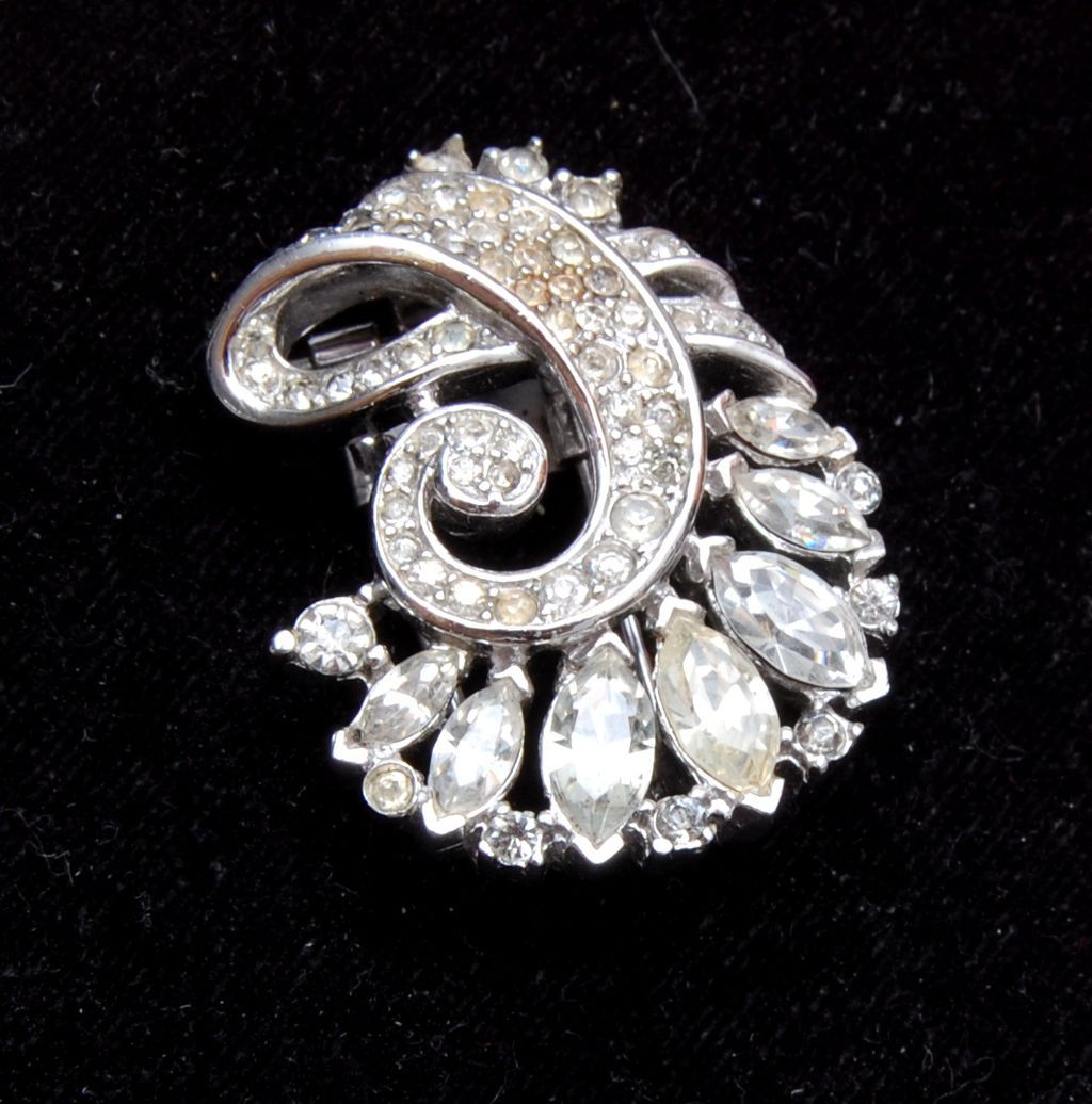 Crown Trifari Fur Clip or Brooch Pre 1955