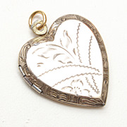 Gold Washed Sterling Locket Etched Design