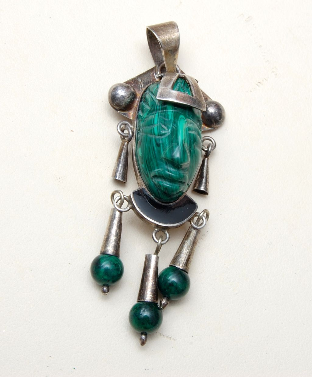 Sterling and Malachite Tribal Face Pendant