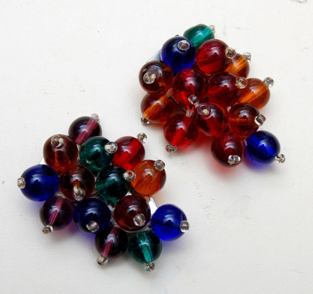 Pair of Colorful Glass Beaded Dress Clips