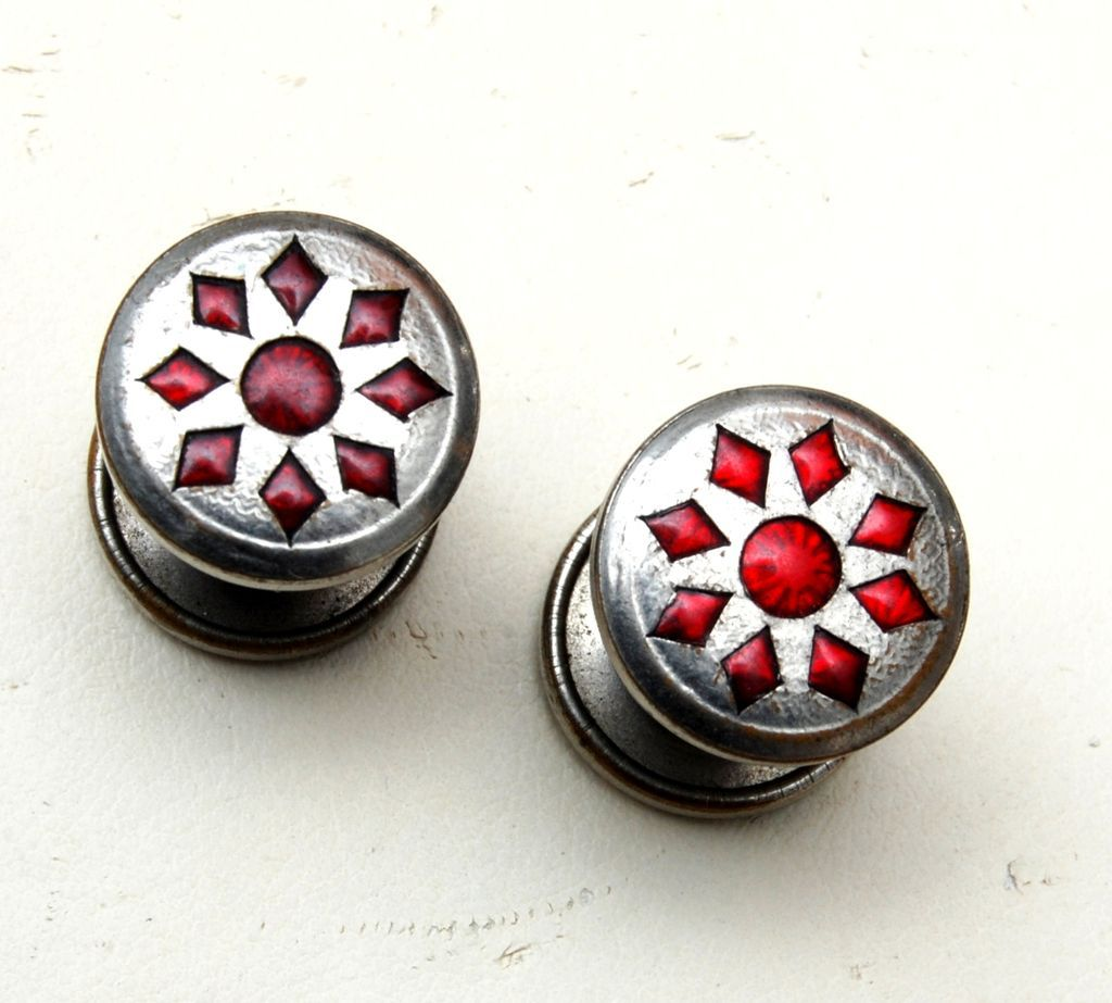 Jem Link Red Celluloid Cuff Links