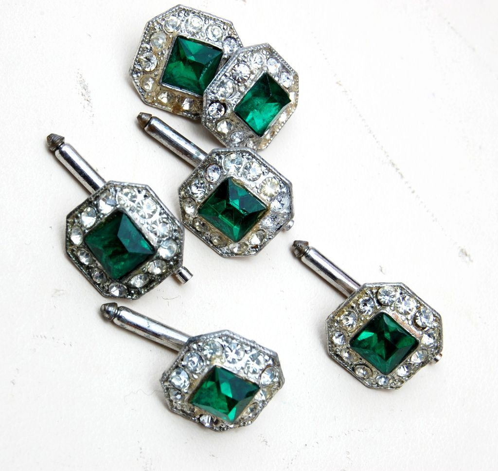 Green Rhinestone Buttons and Cufflink