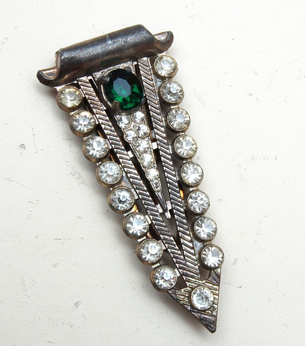 Green Rhinestone Dress Clip