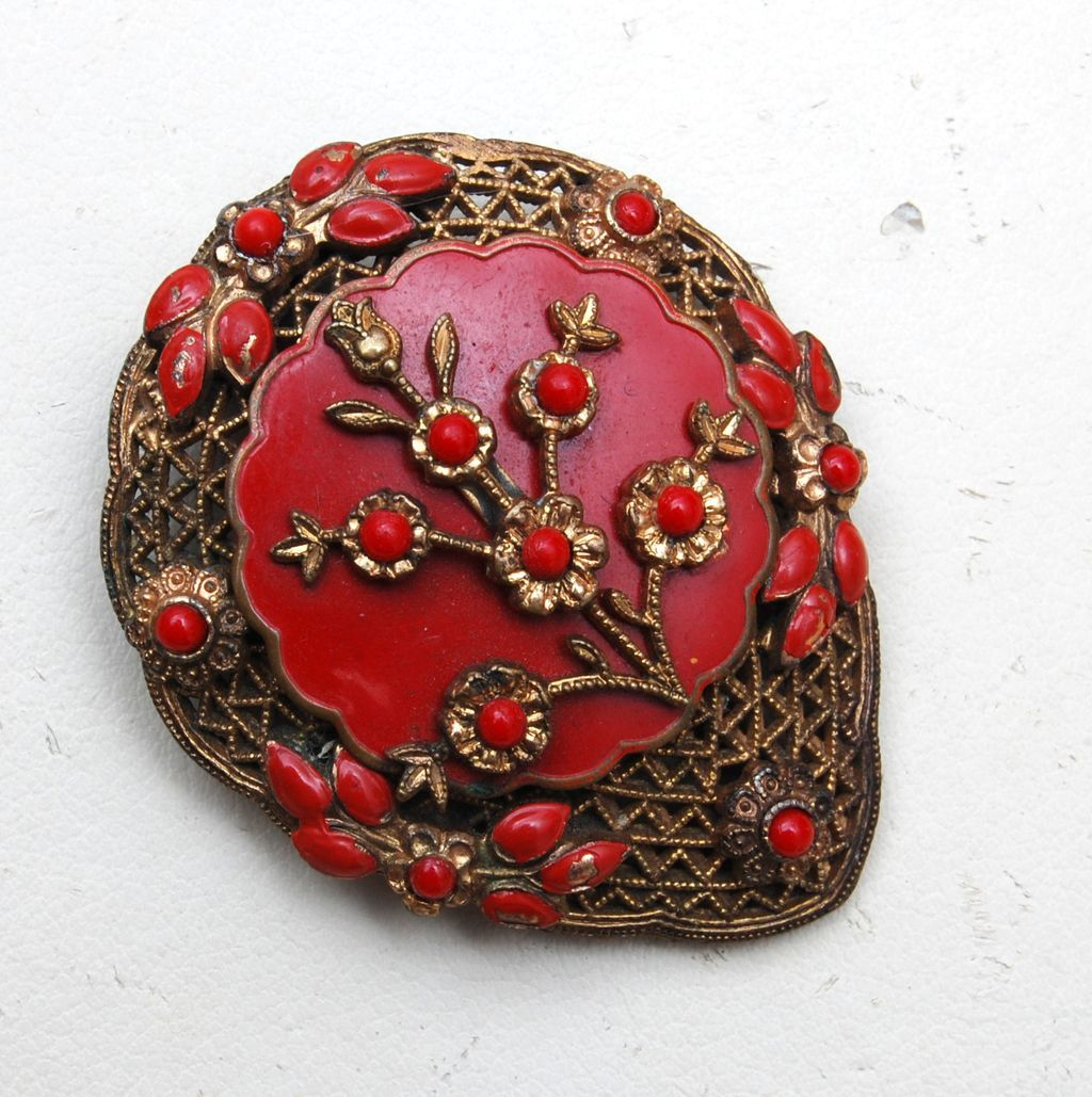Red Enameled Dress Clip