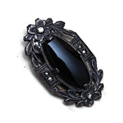 Sterling and Patent Marked Black Dress Clip With Marcasites