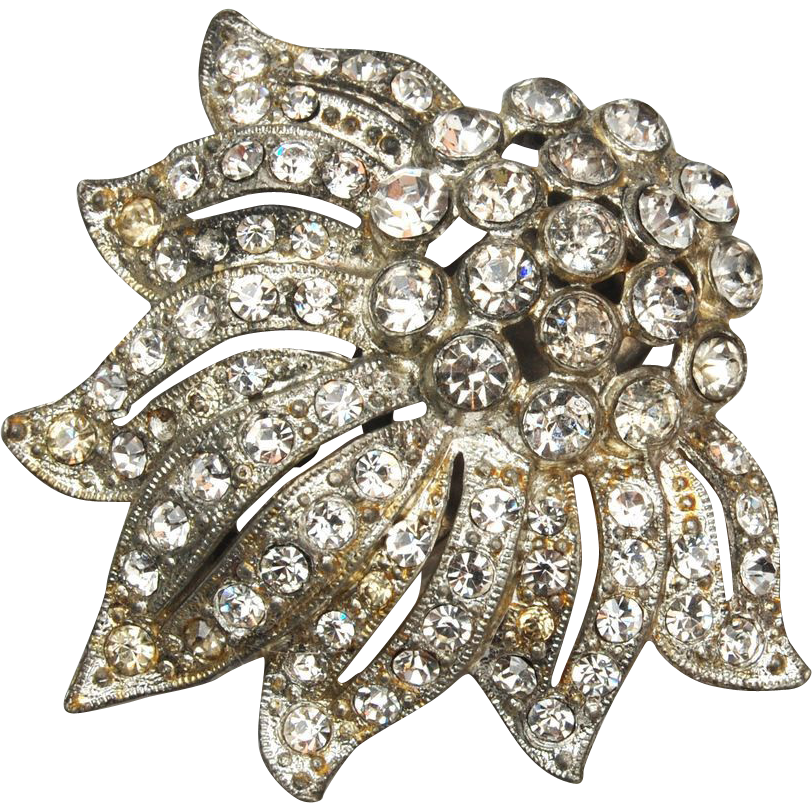 Pot Metal Rhinestone Dress Clip