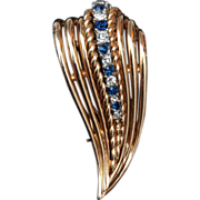 Boucher 6789 Blue and White Rhinestone Fur Clip
