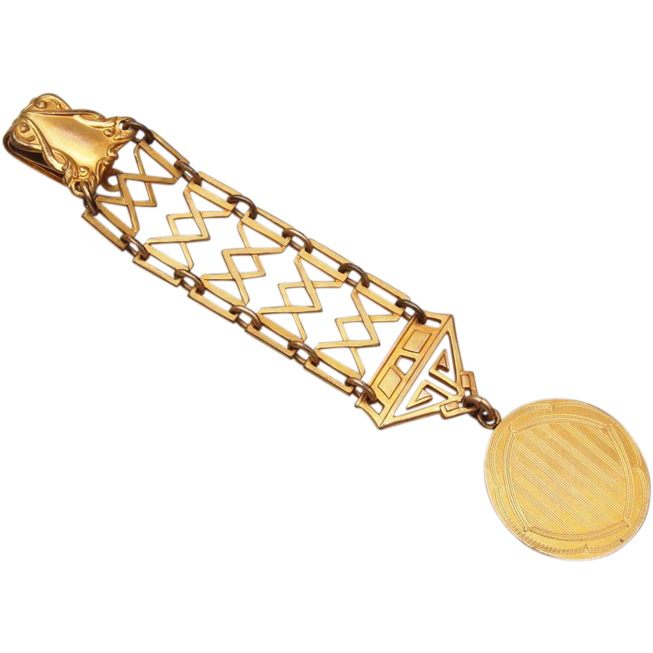 Gold Filled Art Deco Watch Chain and Fob