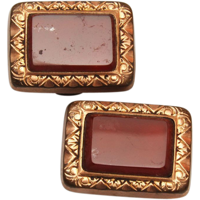 Carnelian and Gold Filled Cuff Links