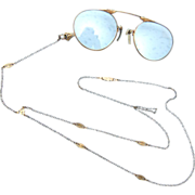 "Beautiful Gold Filled ""Y"" Chain With Pince Nez Glasses"