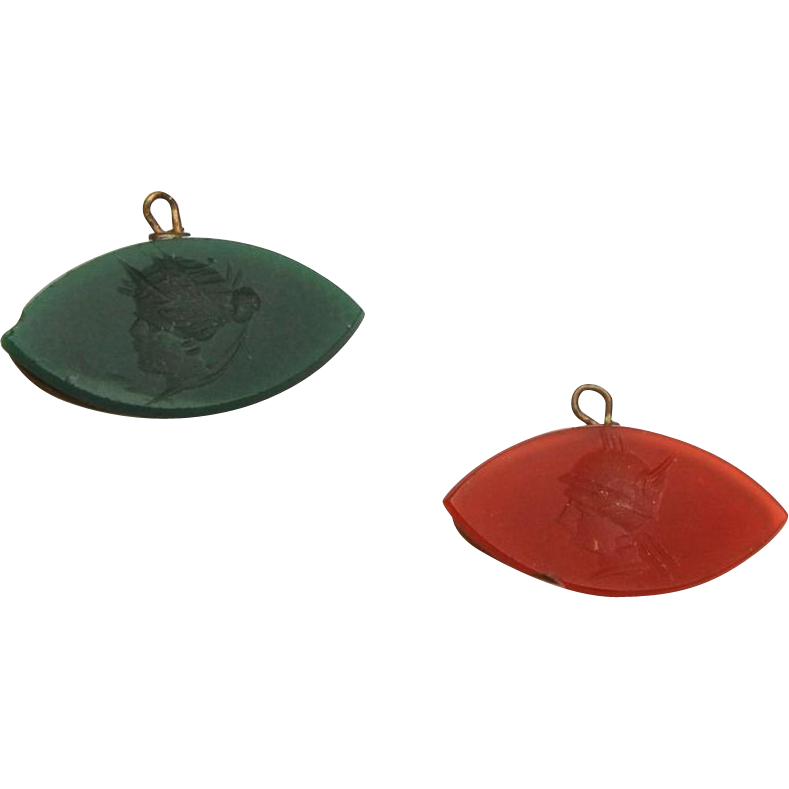 2 Carnelian and Green Glass Intaglio Watch Fobs