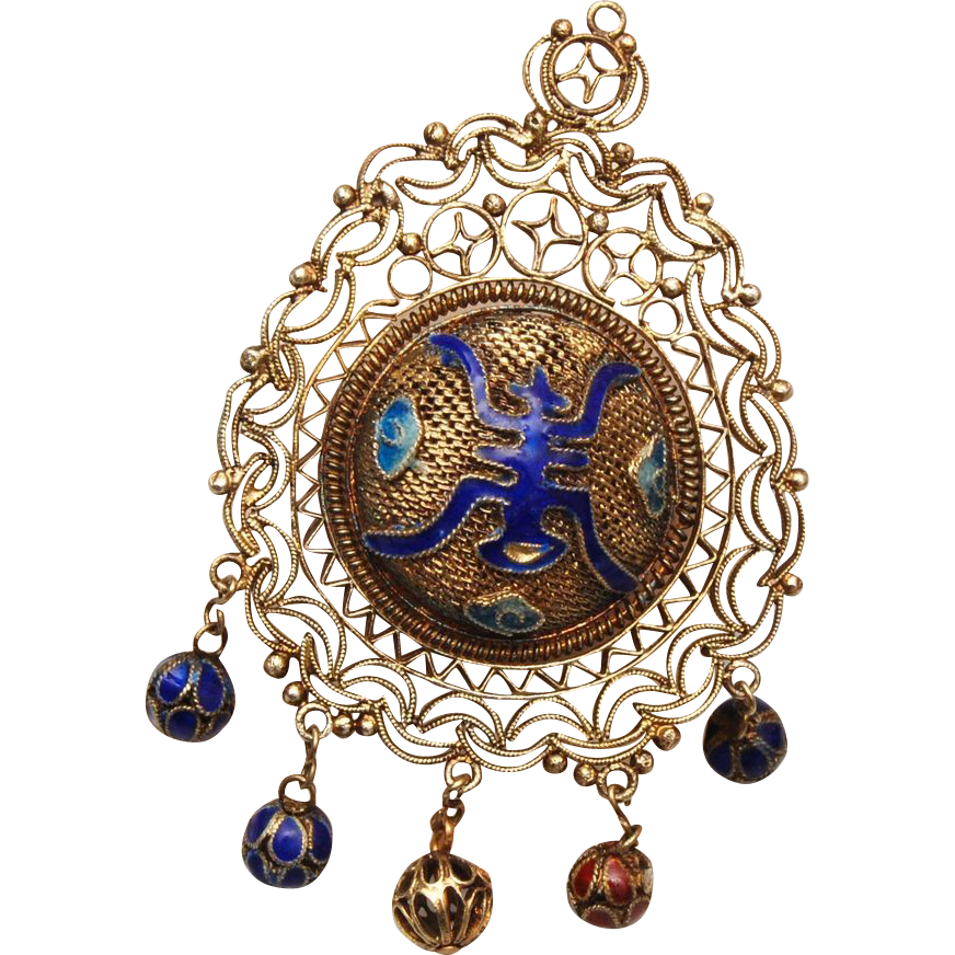 Chinese Filigree Long Life and Purity Pendant