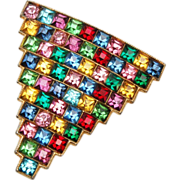 Fabulous Colorful Square Rhinestone Dress Clip