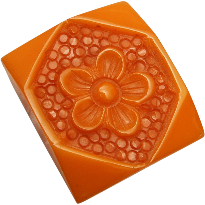 Carved Butterscotch Bakelite Dress Clip