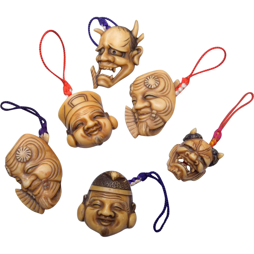 Japanese Noh Masks and Gods Charms