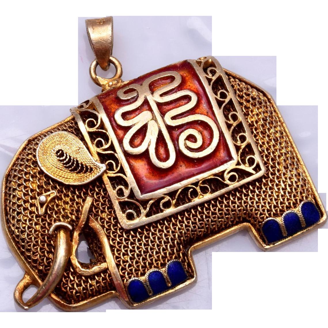 Chinese Filigree and Silver Enameled Elephant Pendant