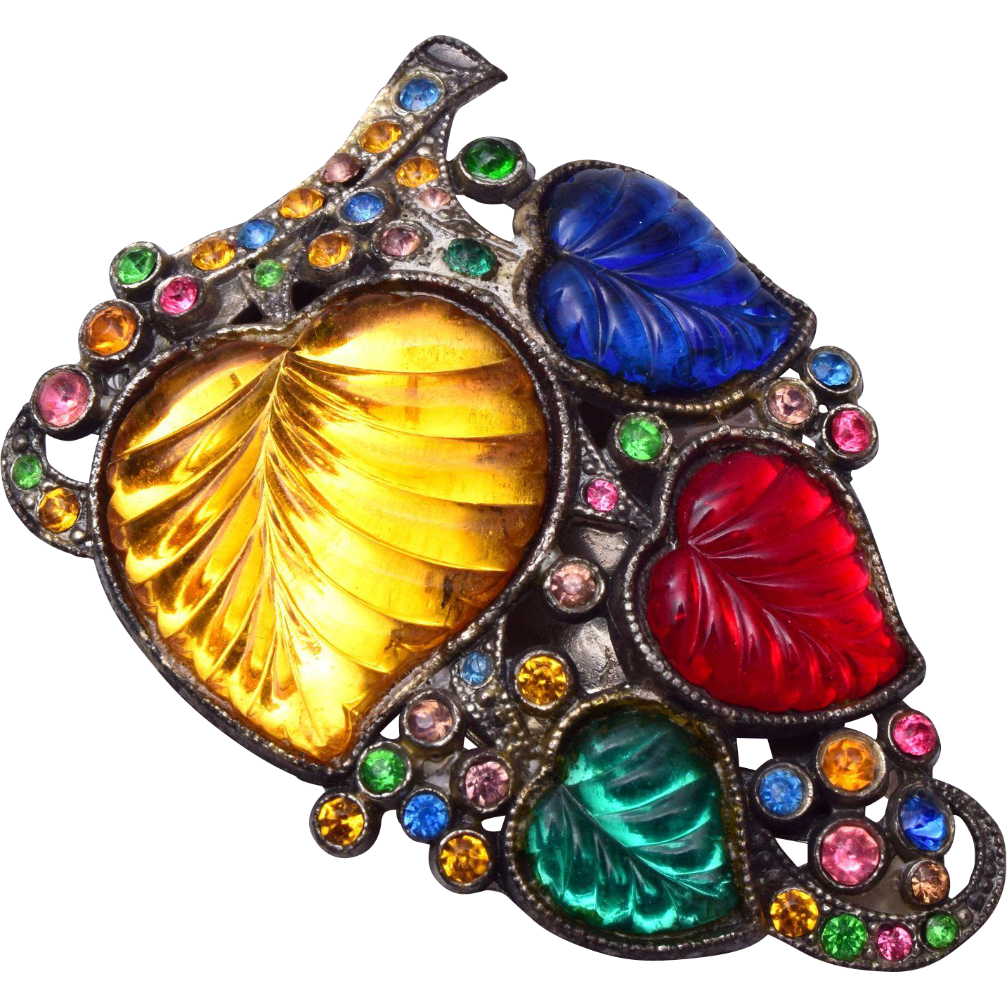 Molded Glass Colorful Dress Clip