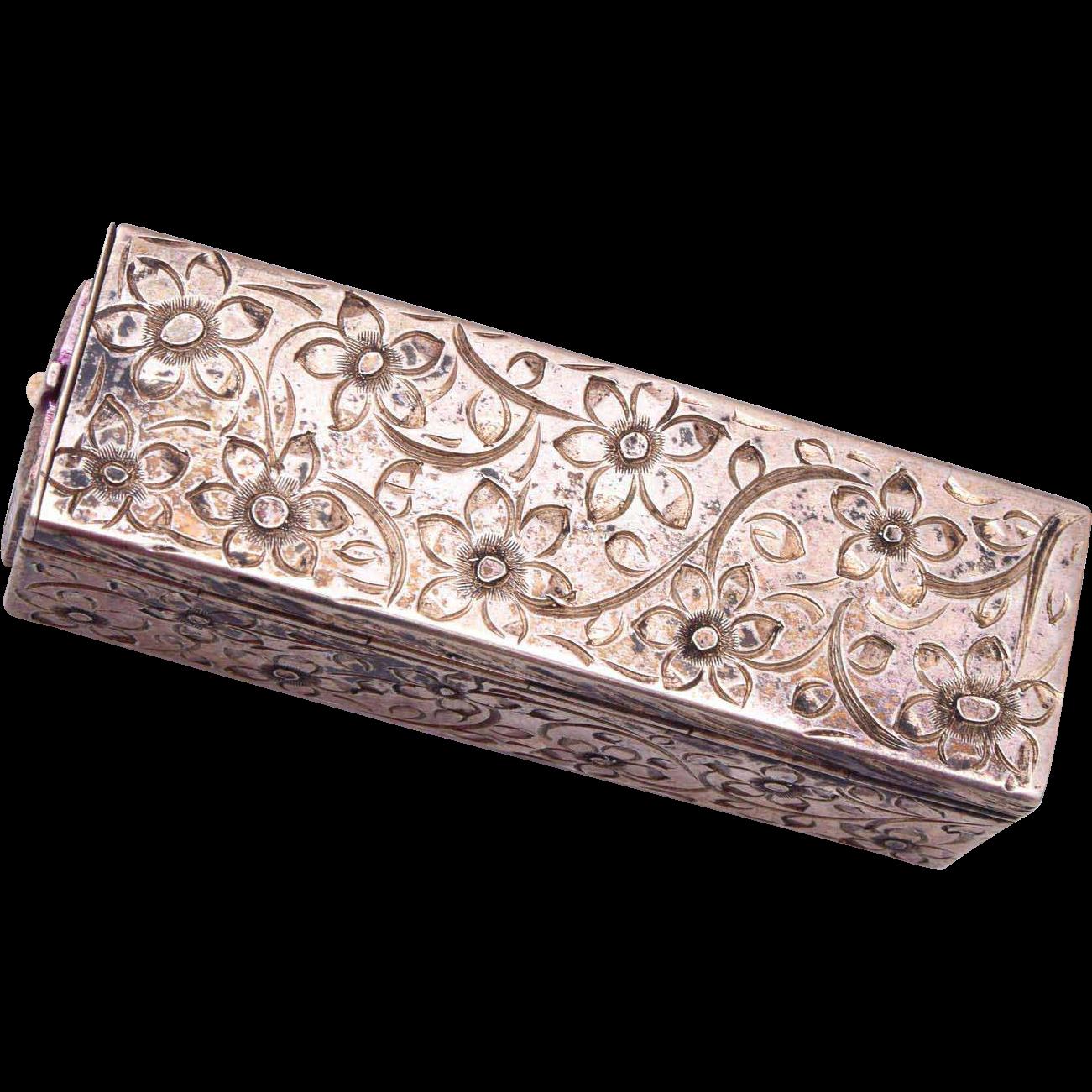 800 Silver Lipstick Holder with Mirror