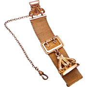 "Gold Filled Watch Chain and Fob Etched ""RFD"""