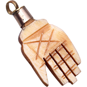 Carved Bone Hand Charm