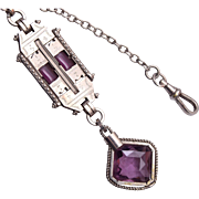 Beautiful Purple Stone Watch Chain and Fob