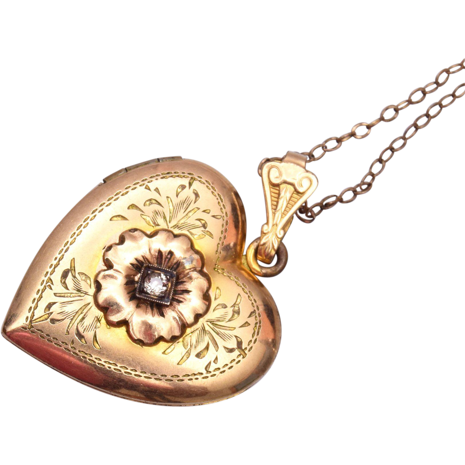 1941 Gold Filled Locket with Stone