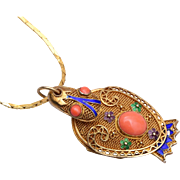 Locket Bird - Chinese Silver and Enameled Filigree
