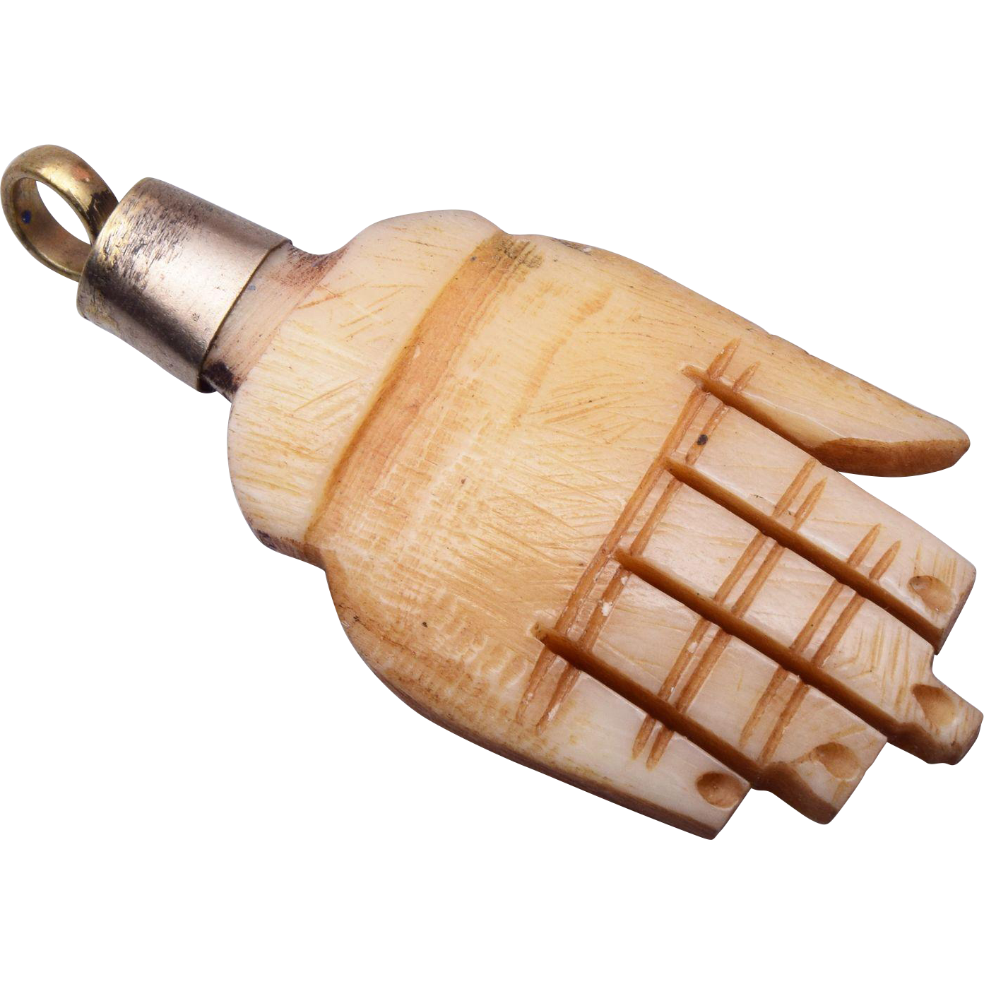Carved Bone Hand Charm or Pendant