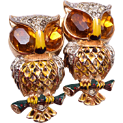 1944 Coro Owl Duette With Topaz Eyes