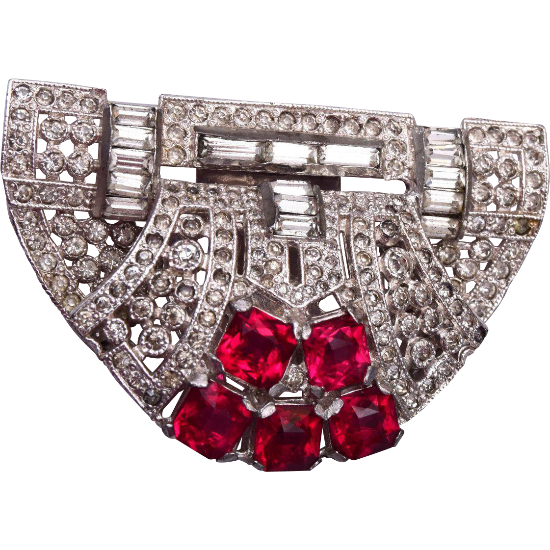Gorgeous Red Stone Art Deco Dress Clip