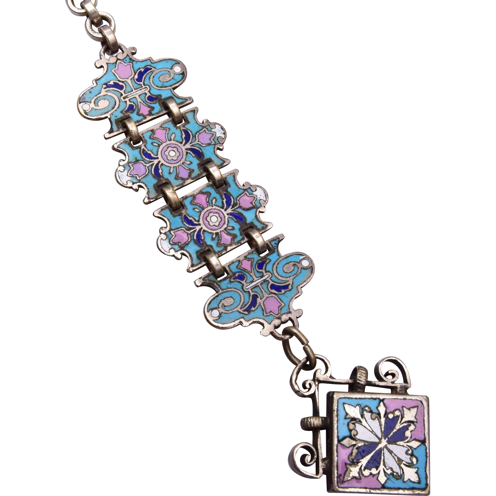 Enameled Pink and Blue Watch Chain and Fob