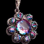800 Silver and Iris Glass Pendant