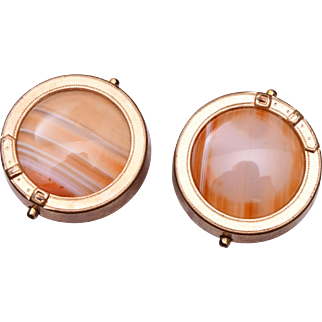 1875 Gold Filled and Banded Agate Cuff Links