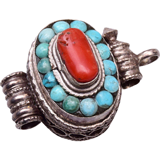Sterling Turquoise and Coral Prayer Locket Pendant