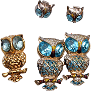 Coro Craft Aqua Owl Duette and Matching Brooch and Earrings