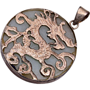 Sterling Dragon and Jade Pendant or Charm