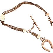 Gold Filled Horse Shoe Fob and Watch Chain