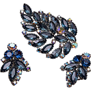Blue Multi Prong Rhinestone Brooch and Earring Set