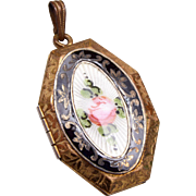 Beautiful Guilloche Enamel Locket