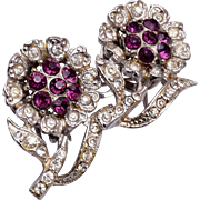 Coro Duette Purple Rhinestone Flower Fur Clips