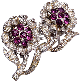 Coro Duette Purple Rhinestone Flower Fur Clips