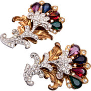 Beautiful Jewel Tone Rhinestone Dress Clips