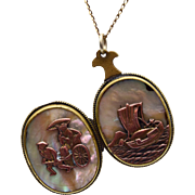 Gorgeous Oriental Locket With Mother of Pearl