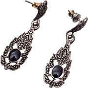 Silver and Onyx Pierced Earrings