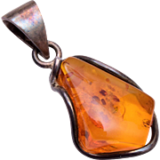 Sterling and Amber Pendant