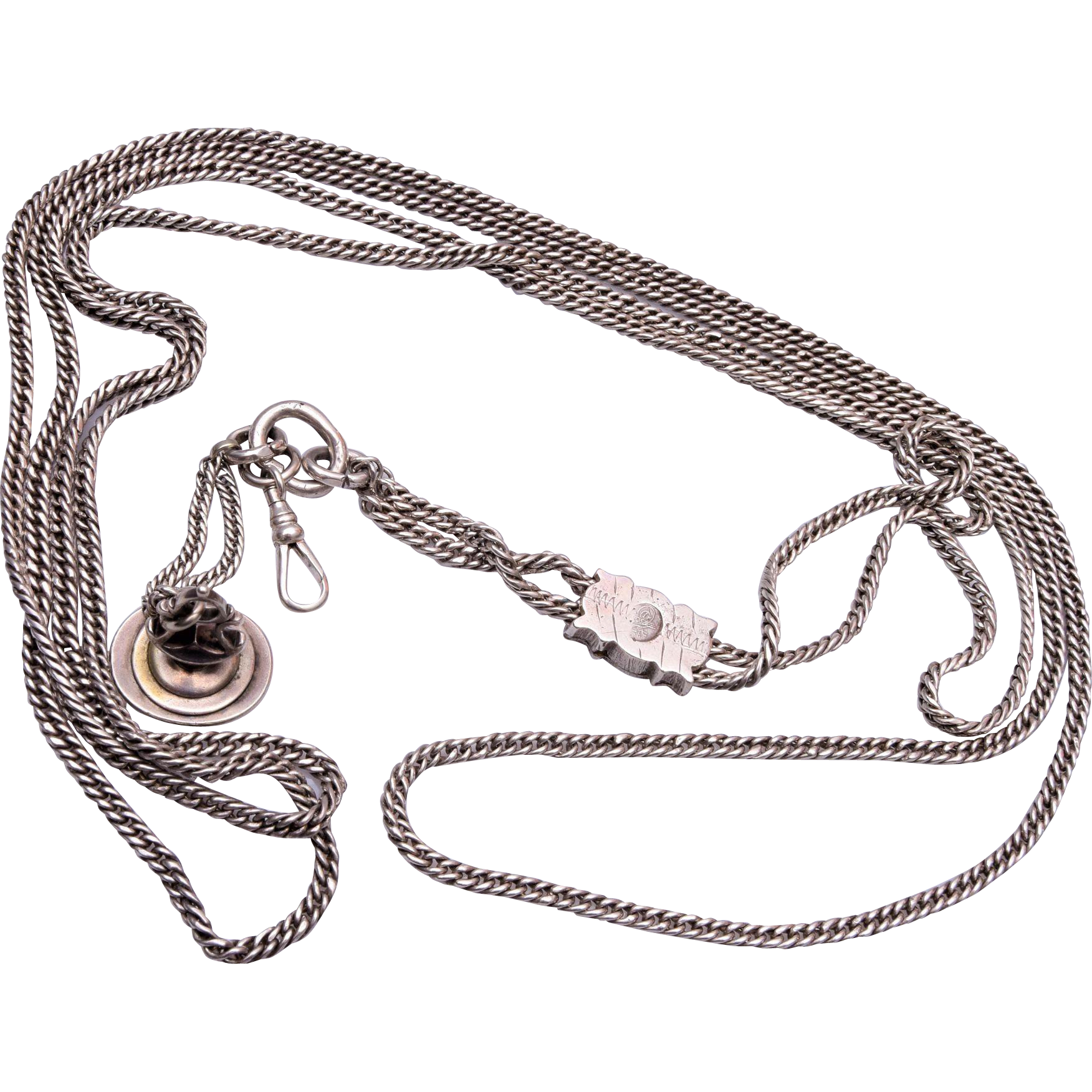 Long Sterling Watch Chain Necklace and Fob Seal With Slide