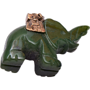 Sterling and Jade Elephant Pendant or Charm