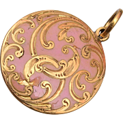 Enameled Pink Hair Locket